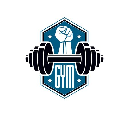 Sport logo for weightlifting gym and fitness club, retro style vector emblem. With barbell. Archivio Fotografico - 133160699
