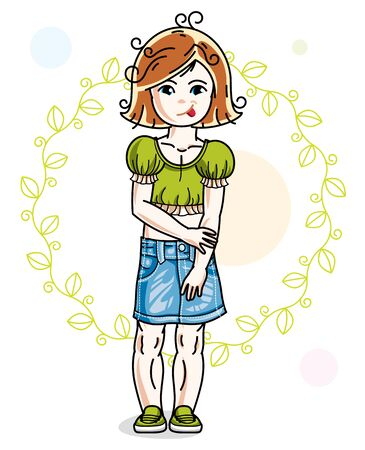 Little red-haired cute girl standing on spring eco background with leaves. Illustration of vector attractive kid wearing casual clothes. 일러스트