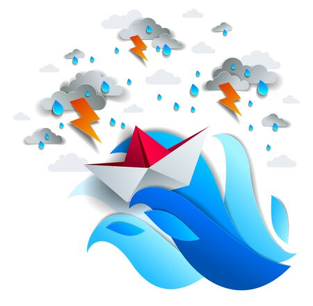 Paper ship swimming in storm with lightning, origami folded toy boat fights for survival in the ocean in thunderstorm and rainy weather, vector illustration. Banque d'images - 133064338