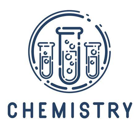 Test tube vector simple linear icon, science chemistry and medicine analysis line art symbol, laboratory research. Illusztráció