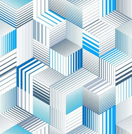 Seamless isometric lines geometric pattern, 3D cubes vector tiling background, architecture and construction, wallpaper design. 스톡 콘텐츠 - 133160738