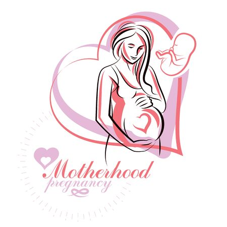 Pregnant woman elegant body silhouette, sketchy vector illustration. Maternity hospital advertising flyer