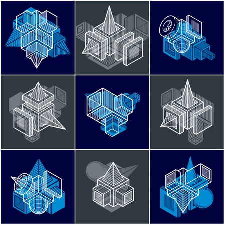 3D designs, set of abstract vector shapes. 일러스트
