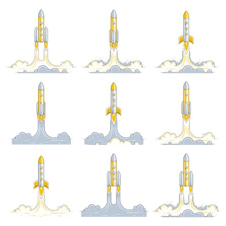 Rockets launch into undiscovered space. Explore universe, breathtaking space science. Thin line 3d vector illustrations set isolated on white.