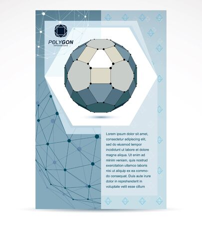 Internet technologies corporation business promotion idea. Abstract vector 3d mesh polygonal grayscale object.