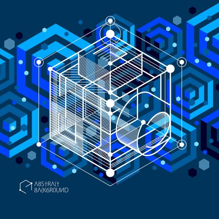 Trendy geometric vector pattern, textured abstract cube mesh blue black background. Technical plan, abstract engineering draft for use in graphic and web design.