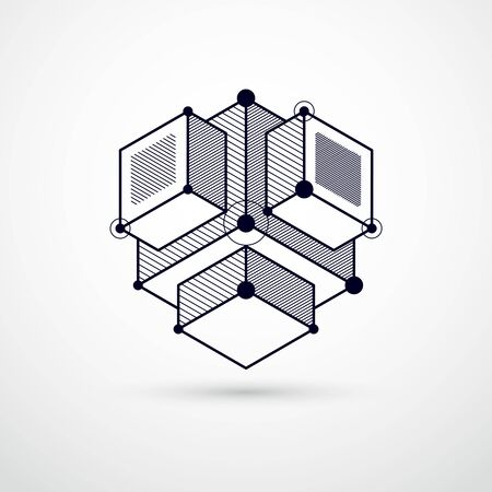 Geometric technology vector black and white drawing, 3D technical wallpaper. Illustration of engineering system, abstract technological backdrop. Abstract technical background. 일러스트