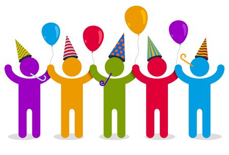 Celebrating people vector concept simple illustration or icon, celebration anniversary or holiday fun, group of cheerful happy people having fun at party. Çizim