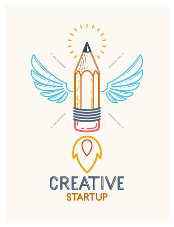Pencil with wings launching like a rocket start up, creative energy genius artist or designer, vector design and creativity logo or icon, art startup.