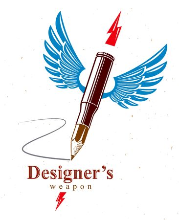 Idea is a weapon concept, weapon of a designer or artist allegory shown as a winged firearm cartridge case with pencil instead of bullet, creative power, vector logo or icon. Illusztráció