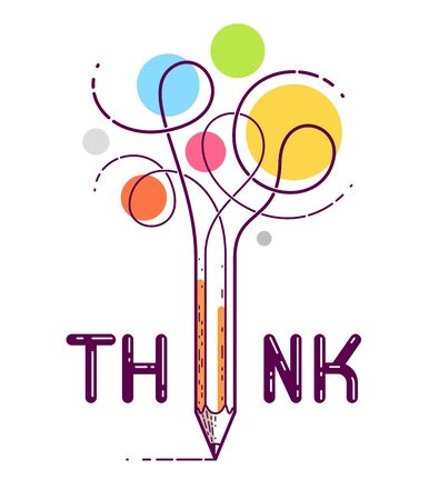 Think word with pencil instead of letter I, ideas and brainstorm concept, vector conceptual creative logo or poster made with special font.