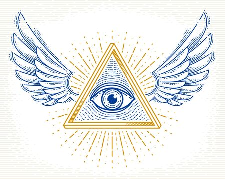 All seeing eye of god in sacred geometry triangle with bird wings of falcon or angel, masonry and illuminati symbol, vector logo or emblem design element.
