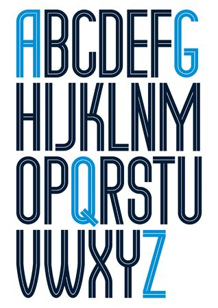 Vector tall condensed capital English alphabet letters collection made with white lines, can be used in poster design as newspaper advertising Çizim