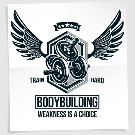 Power lifting competition vector poster composed using disc weight dumbbell and wings. Weakness is a choice lettering.  Illustration