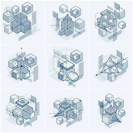 Isometric linear abstract vector backgrounds, lined abstractions. Cubes, hexagons, squares, rectangles and different abstract elements. Vector set.