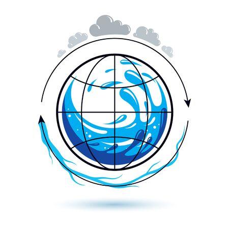 Global water circulation vector logo for use as marketing design symbol. Human and nature coexistence concept. Illusztráció