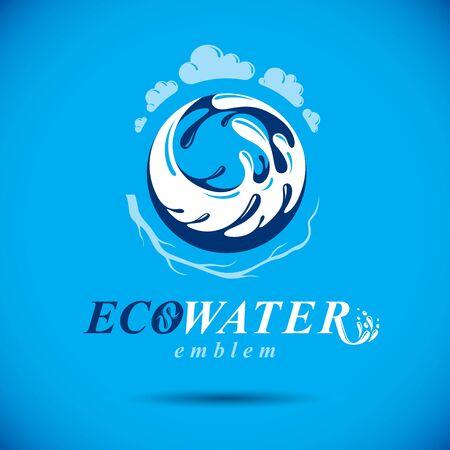 Vector blue clear water drop logo for use as marketing design symbol. Alternative medicine concept.
