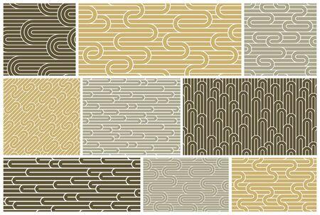 Ensemble de motifs de lignes transparentes, collection d'arrière-plans abstraits vectoriels géométriques à rayures, filet à rayures linéaires, labyrinthe optique, réseau web. Vecteurs