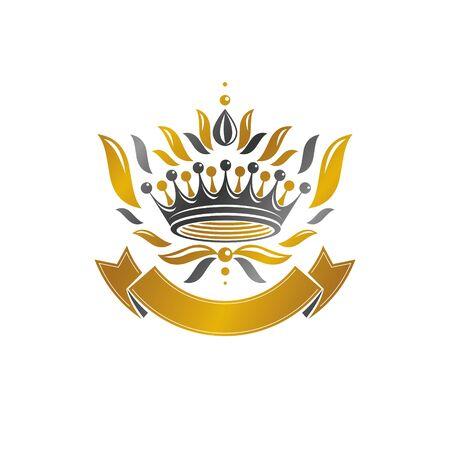 Royal Crown emblem. Heraldic vector design element. Retro style label, heraldry logo. Antique logotype isolated on white background.