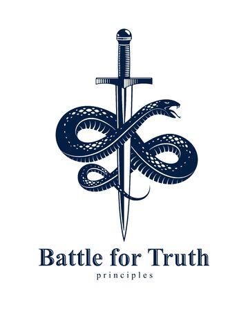 Schlange und Dolch, Schlange wickelt sich um ein Schwertvektor-Vintage-Tattoo, den römischen Gott Merkur, Glück und Tricks, allegorisches Logo oder Emblem eines alten Symbols. Logo