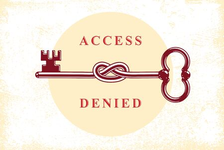 Access Denied, Knotted key allegorical symbol, vintage antique turnkey in a knot, blocked account, personal data protection, hacker and fraud attack, vector logo.