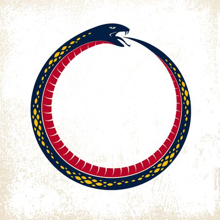 Ouroboros Snake in a shape of circle, endless cycle of life and death, ancient Uroboros symbol vector illustration, Serpent eating its own tale, logo, emblem or tattoo.