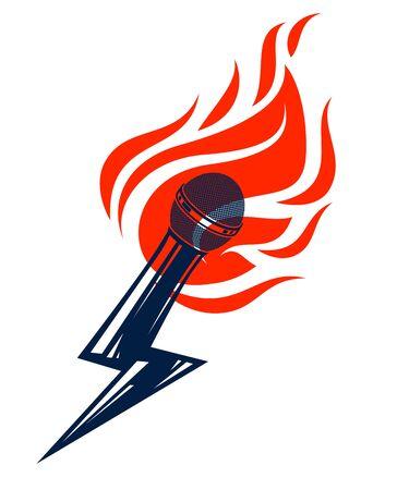 Microfono in fiamme e forma di fulmine, microfono caldo in fiamme e bullone, concetto di ultime notizie, musica di rime di battaglia rap, canto karaoke o commedia in piedi, logo vettoriale o illustrazione.