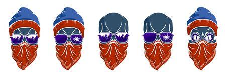 Gangster skull vector logos set, icons or tattoos, urban stylish aggressive criminal scull.