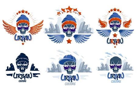 Urban culture style skull in sunglasses vector logos or emblems set, gangster or thug illustrations, anarchy chaos hooligan, ghetto theme. Иллюстрация