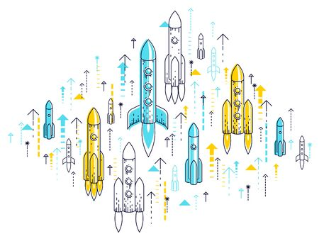 Startup rockets take off, space rockets flying start up business concept, vector illustration.