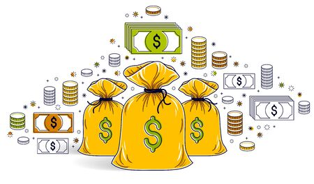 Money bag and dollar icon set vector design, savings or investments concept.