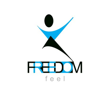 Vector illustration of excited abstract  man with raised reaching up. Successful business career logotype. Corporate development symbol. Freedom creative emblem.