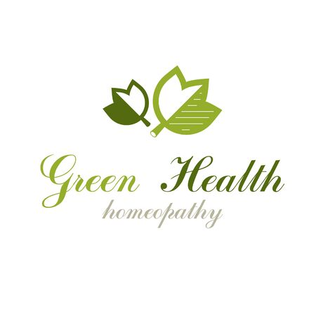 Green spring leaves vector graphic symbol for use in healthcare business. Vegetarian lifestyle conceptual logotype. Imagens - 133161050