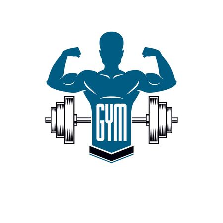 Bodybuilding weightlifting gym logotype sport club, retro style vector emblem. With sportsman silhouette. Archivio Fotografico - 133161072