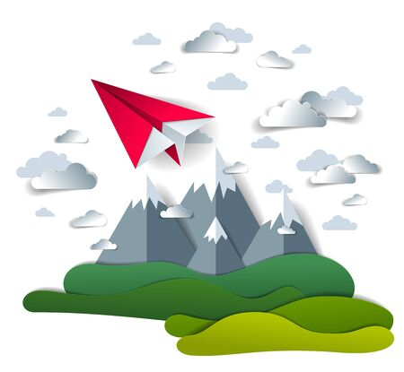 Origami paper plane toy flying in the sky over mountain peaks, perfect vector illustration of scenic nature landscape with toy jet take off mountain range, airlines air travel theme.