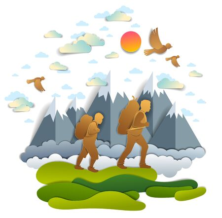 Active father and teenage son hiking through grasslands to mountains, birds in the summer sky. Fatherhood, hiker men having time of freedom in nature summer holidays, vector illustration. Ilustração
