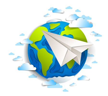 Origami folded toy plane flying around the cartoon paper cut earth with beautiful clouds, vector modern style 3d illustration isolated on white background. Vector Illustration