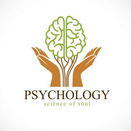 Koncepcja zdrowia psychicznego i psychologii, wektor ikona lub projektowanie logo. Ludzki mózg anatomiczny w kształcie zielonego drzewa z czułymi rękoma strzegącymi wzrostu i rozkwitu osobowości i indywidualności.