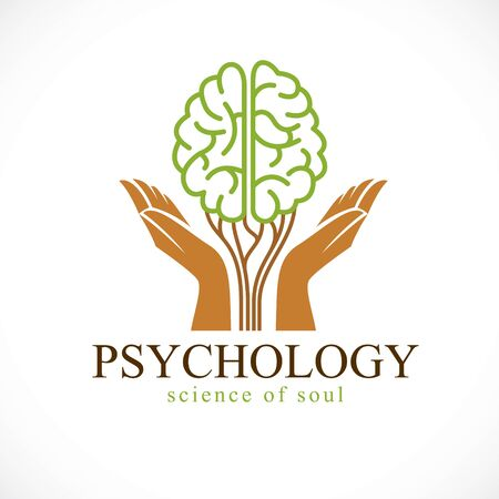 Mental health and psychology concept, vector icon or logo design. Human anatomical brain in a shape of green tree with tender guarding hands, growth and heyday of personality and individuality. Stock Illustratie