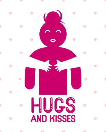 Hugs and kisses with loving hands of beloved person and kissing lips, lover woman hugging her mate and shares love, vector icon  or illustration in simplistic symbolic style.