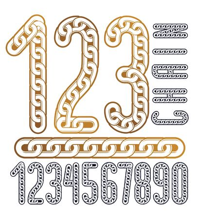 Vector numerals collection. Funky numbers for use as poster design elements. Made with iron chain, linked connection.
