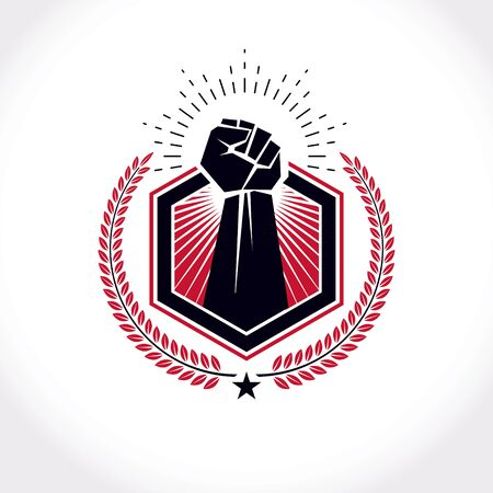 Vector symbol created using clenched fist of athletic strong man, protection shield, bird wings and different graphic elements. Illusztráció