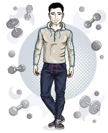 Handsome brunet young man is standing on simple background with dumbbells and barbells. Vector illustration of sportsman.  Active and healthy lifestyle theme cartoon. 矢量图像