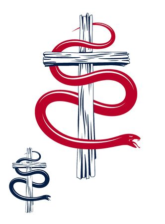 Serpent on a Cross vintage tattoo, snake wraps around Christian cross, God and Devil allegory, the struggle between good and evil, symbolic vector illustration  emblem.