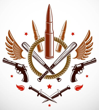 Revolution and War vector emblem with bullets and guns or tattoo with lots of different design elements, riot partisan warrior, criminal and anarchist style, social tension theme.  イラスト・ベクター素材