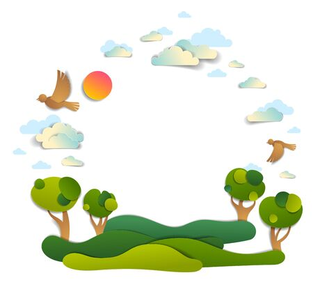Scenic landscape of meadows and trees, cloudy sky with birds and sun, frame background with copy space,  vector illustration in paper cut. Summer holidays in countryside, travel and tourism.