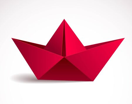Origami paper folded toy ship, 3d realistic vector illustration.