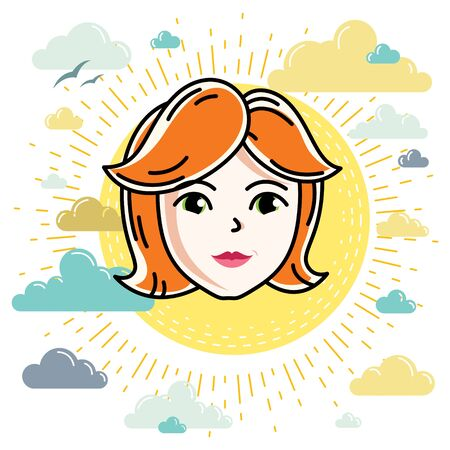Beautiful women face, human head. Vector character, attractive redhead lady face features. Illustration