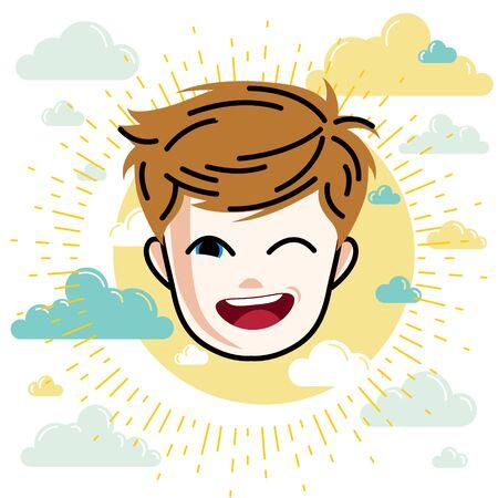 Boy face, vector human head illustration. Redhead kid winking.