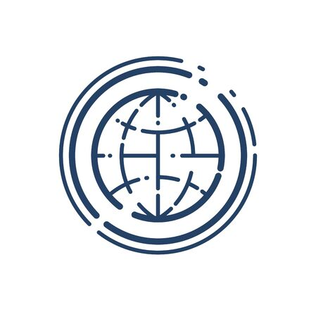 Earth planet vector linear icon, geography and gps line art symbol.